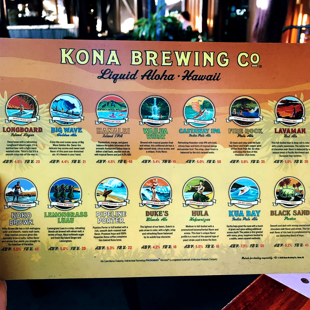 Menu Kona Brewing Company